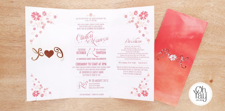 Floral invite with lasercut initials