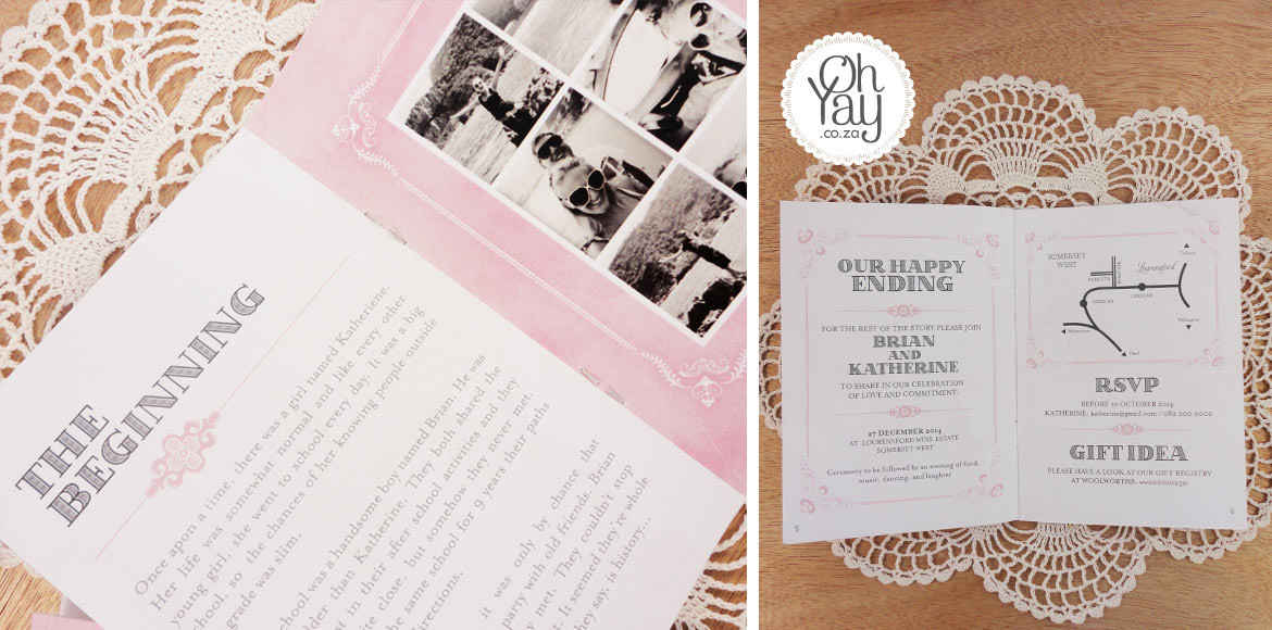 Love Story invitation booklet
