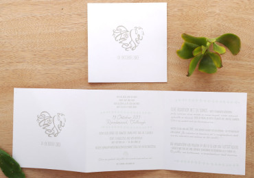 Minimalistic Z-fold wedding invitation