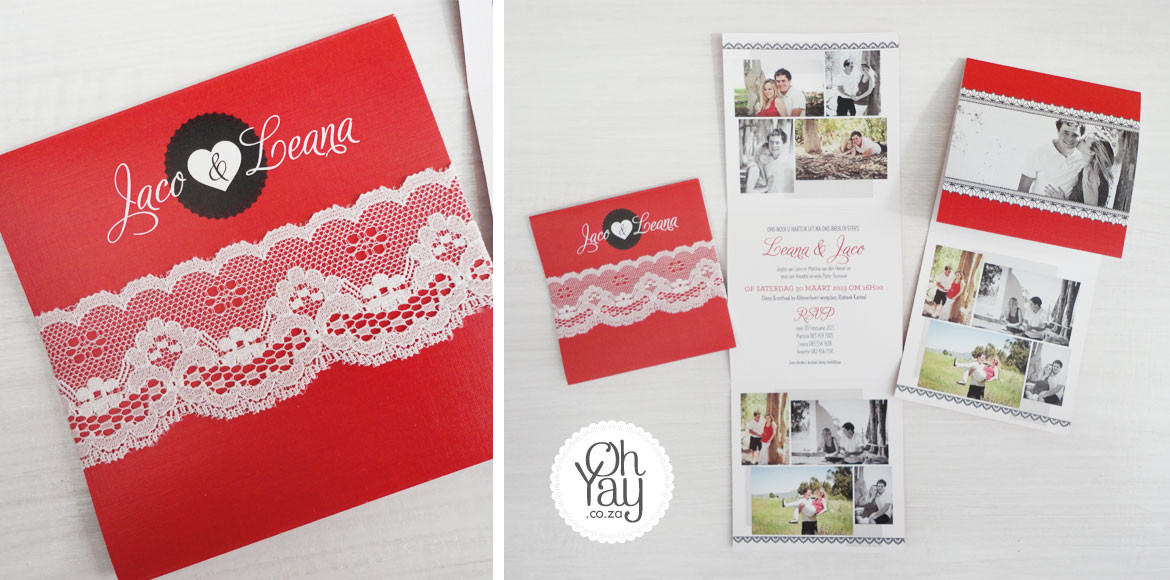 Photo collage invite with lace detail