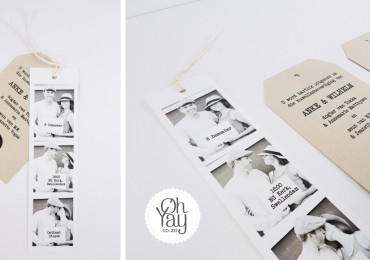 Photostrip with tag wedding invitation