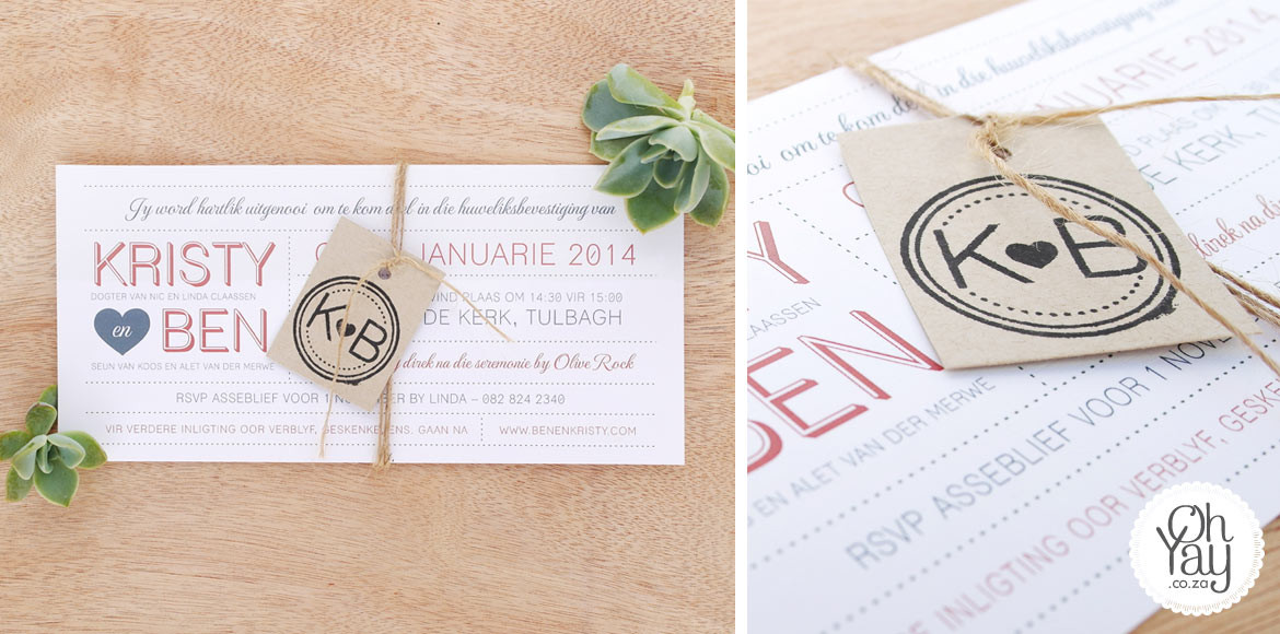 Rustic typography invitation