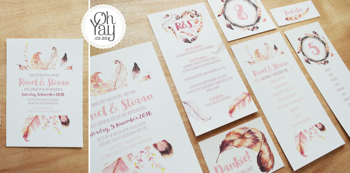 Feather wedding stationery