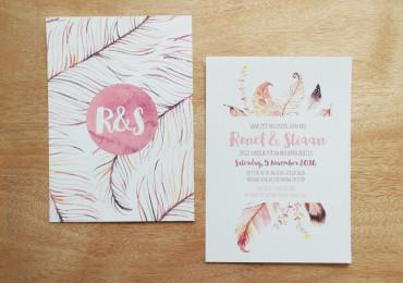 Feather wedding stationery