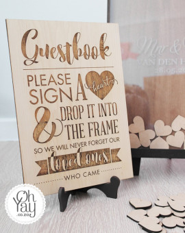 Guest book frame with wooden hearts