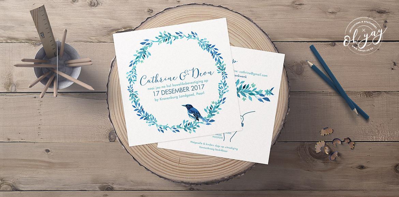 Blue birds & wreaths
