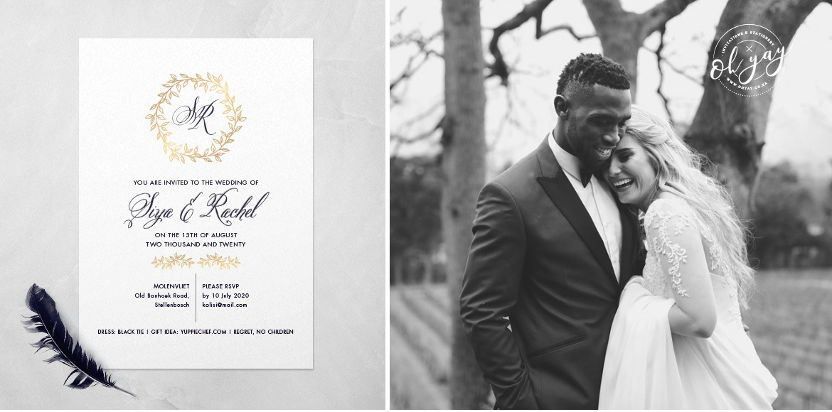 Kolisi wedding stationery