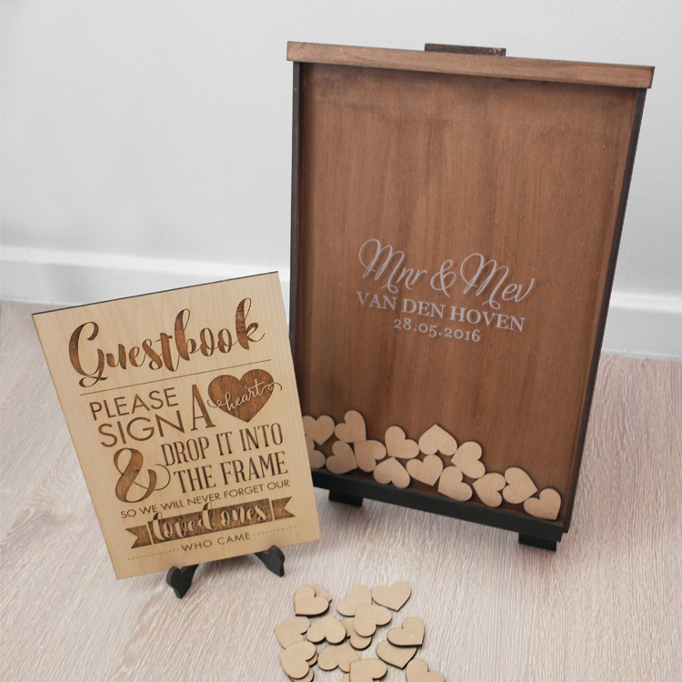 8ec8aa8be7741 Guest book Frame: Large (120 wooden hearts)